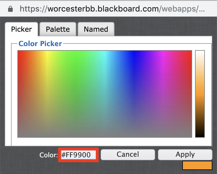 Get the numerical colour value from the bottom left field