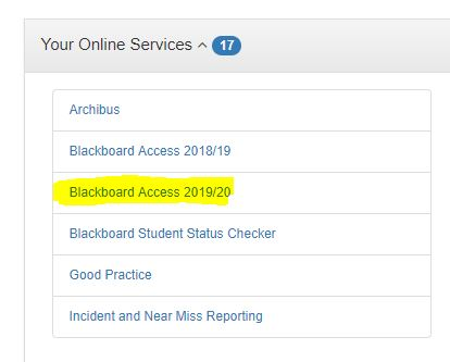 Blackboard Access link on Staff Portal