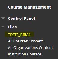 Files area located in side menu