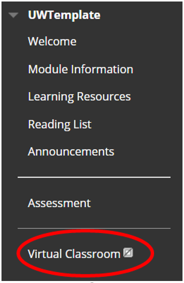 Blackboard course menu