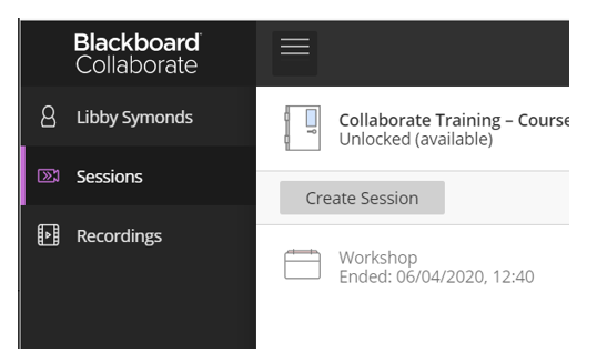 Image of the Collaborate Sessions menu
