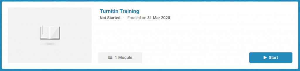 Turnitin training course within LearnUpon