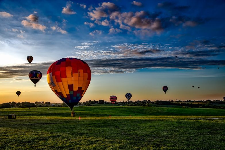 Hot air balloons at dawn