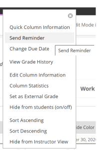 Send Reminder function in Grade Centre