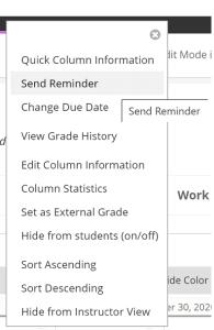 Send Reminder function in Grade Centre