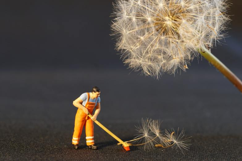 Tiny plastic figure of a man sweeping up dandelion seeds